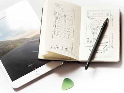iPad mini 3 at work mockup notebook sketch showcase ipad mini ipad mockup product showcase showcase app