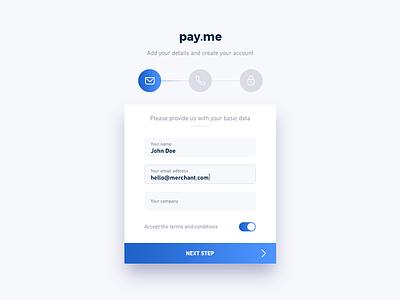 Registration process sign up form login digital payments signup registration