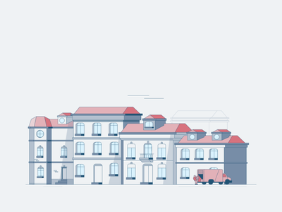 Arnhem Street Illustration digital simplistic flatdesign flat car houses buildings street
