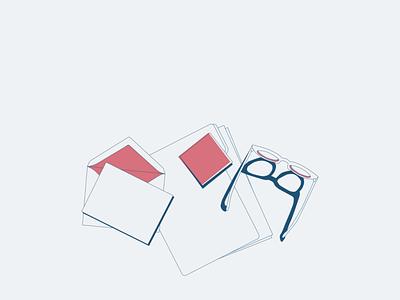 Glasses Illustration notes letter glasses linework lines simplistic design illustration art