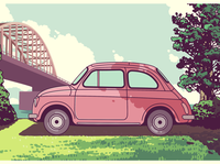 Vintage postcard - volkswagen beetle