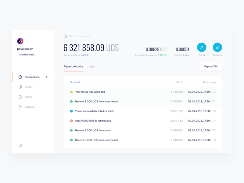 Gravity Wallet for Cryptocurrency ui token account dashboard transactions gravity pavelkosov eos cryptocurrency blockchain crypto wallet cofo typography ux product minimal