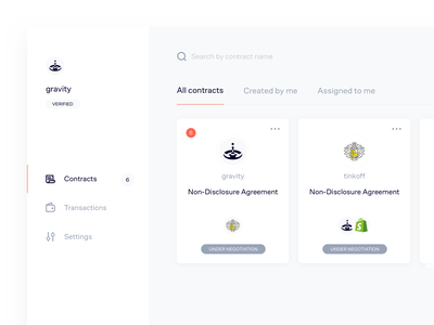 Dashboard design for contracts account documents contract tinkoff gravity crypto dashboard cryptocurrency blockchain kosov design ux product ui minimal