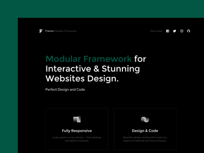 Modular framework for Interactive and stunning websites design. sketchapp interactive module design black framework frammr kosov website ui ux product minimal