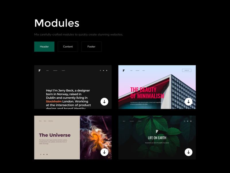 Modular Framework module html5 framework header frammr minimal website ui ux product kosov