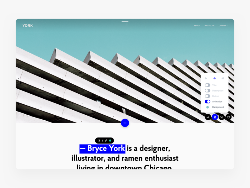 Website Builder blocks module text edit wp framework builder frammr design website ux product minimal ui kosov