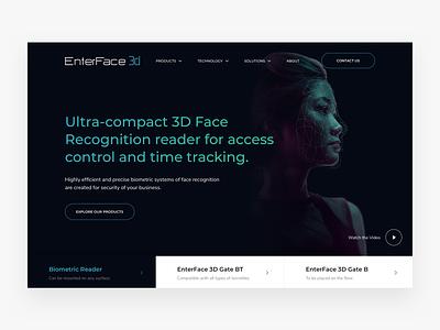 EnterFace 3D Website Design enterface 3d branding face id black design website ux minimal ui kosov