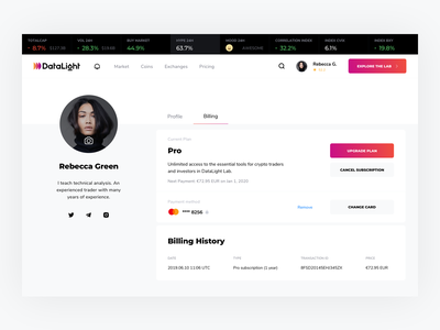 Billing page design and UX card upgrade plan data datalight user profile settings subscription billing profile cryptocurrency blockchain design website ux product minimal ui kosov
