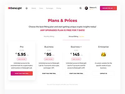 Pricing page design bitcoin analitycs platform data datalight choose plan upgrade trial price pricing plans pricing page cryptocurrency design website ux product minimal ui kosov
