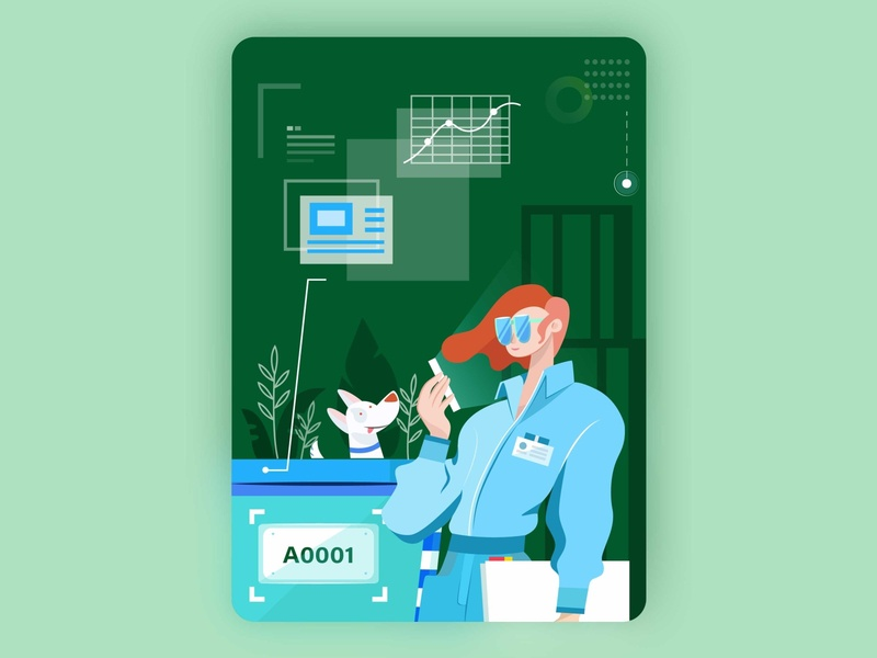 Qualified Auditor skip infographic green ui visual creative design illustration