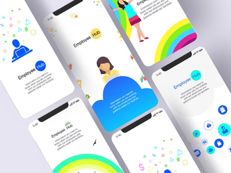 Splash screens graphic design and visual design uiux design employee hub app colorful app splash screens mobile app