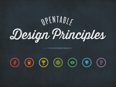 OpenTable Design Principles opentable retro thirsty script rainbow colorful icons blackboard chalkboard circles vintage script typography