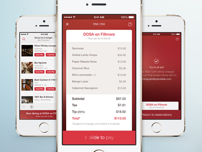 Pay with OpenTable pay with opentable payment opentable ios7 mobile payment red check dining pay bill paid