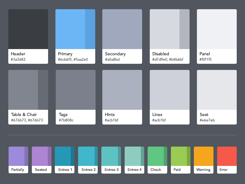 OpenTable Guest Center color palette color color palette palette opentable guest center style guide swatches pantone