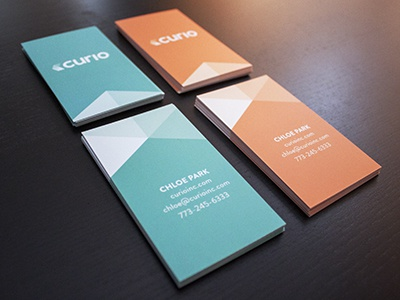 Curio business cards business cards curio agency branding identity mint orange blue graphic design design agency san francisco sf design print card vertical biz business creative studio logo