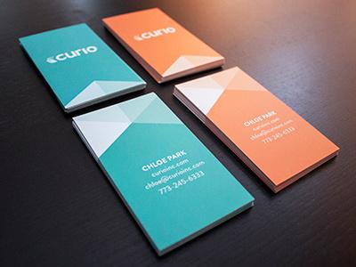 Curio business cards business cards curio agency branding identity mint orange blue graphic design design agency san francisco sf design print card vertical biz business creative studio logo