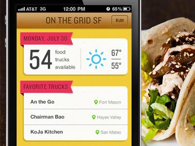 Food truck app app ios mobile food truck food sf off the grid design ios design ux ui tacos travel agency portfolio design agency san francisco curio