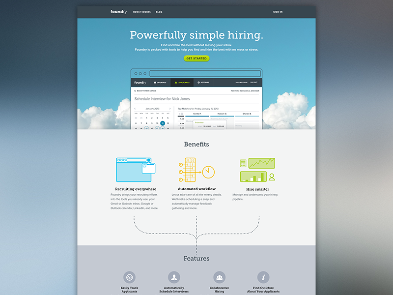 Foundry Hiring homepage features illustrations landing page website homepage jobs curio san francisco design agency portfolio ui ux design sf app hiring software redesign foundry hiring foundry application hr recruiting blue flat simple interaction design visual design clean