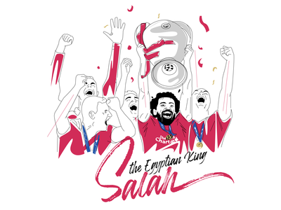 Mo Salah celebrating - vector art