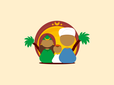 simple illustration of egyptian nubian family