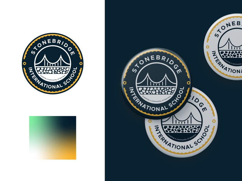 Stonebridge Badge color gradient school logo minimal mark logotype badge logo badge design logo illustration vector branding