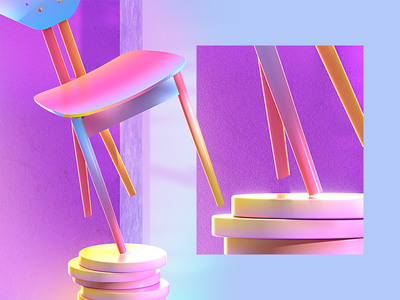 Colored Chair octane render vector vray concept creative c4d