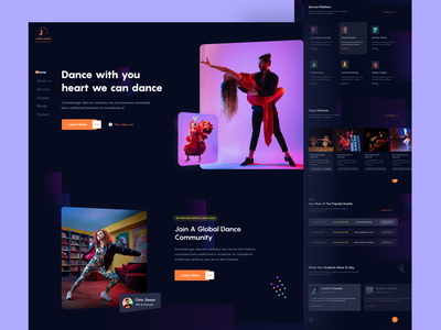 Dance Academy dark landing page template dark dance academy music party dance party dancing girl color typography card minimal button web ux ui training center school education academy dancer dance