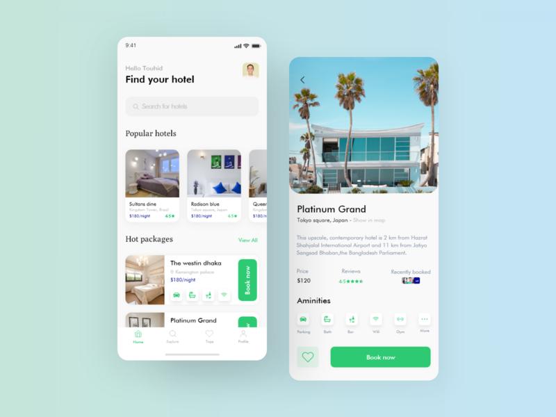 Hotel booking app design flat minimal icon typography ux app web ui