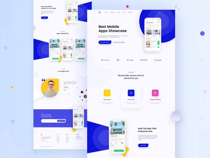 App Landing page icon branding website web ui ux typography minimal design app