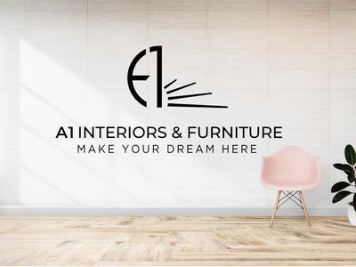 A1 Interiors & Furniture logo design concept.