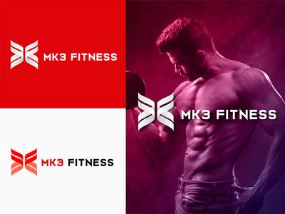MK3 Fitness logo design concept.