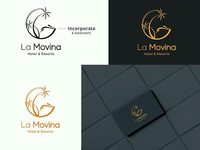 La Movina Hotel & Resorts resort hotel minimalist company logo design logos logodesign logo vector illustration branding abstract