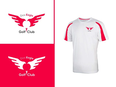 Dos Eagle Golf Club vector abstract art minimalist graphic design eagle white red golf design illustration logodesign branding abstract