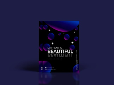 DIFFERENT IS BEAUTIFUL SOCIAL MEDIA POSTER DESIGN gradient galaxy media youtube video social network design vector illustration abstract