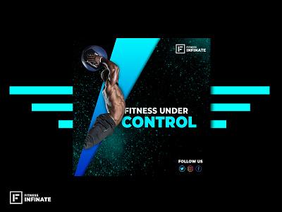 Fitness Social Media Poster Design gym poster advertising banner blue branding abstract social media design fitness