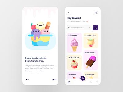 IceShop - Ice Cream Shop trendy 3d art shopping app ios ecommerce shop icecream illustraion 3d app design uidesign mobile app mobile popular dribbble best shot colorful 2020 trend app ux ui