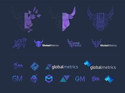 A sample of logo explorations for Global Metrics wallstreet concepts investing trading stock market finance brand logo exploration logo