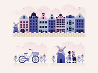 Amsterdam city bicycle netherlands windmill buildings houses illustration amsterdam
