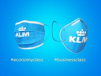 Face masks with airline branding mockups rendering 3d photoshop covid19 corona klm airlines mockup face mask