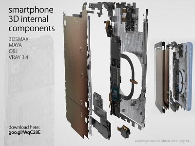 Smartphone 3D internal components set maya 3dstudio max 3dsmax mobile phone apple iphone galaxy set 3d components internal components smartphone
