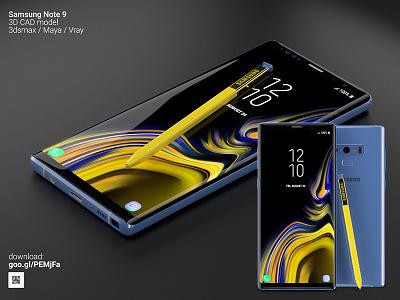 Samsung Note 9 - 3D CAD models available today! vray maya 3dstudio max 3dsmax model 3d 3d model 3d cad samsung note 9 note 9 samsung
