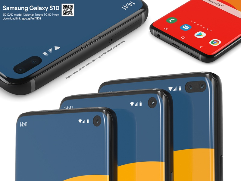 Samsung Galaxy S10 - 3D CAD models mobile phone cellphone smartphone 3ds fbx obj 3d model c4d vray 3dsmax 3dcad s10plus s10e galaxy-s10 samsung galaxy samsung