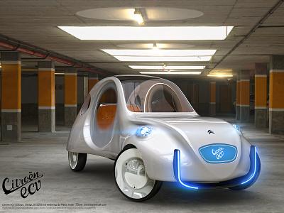 Citroën eCV concept car 2019 hajek martin hajek conceptual concepting design 3d rendering 3d modelling self driving autonomous electric electric car car car design concept car citroen ecv ecv 2cv citroen citroen 2cv