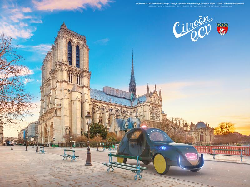 Citroën eCV TAXI Parisien concept study 2019 design 3d rendering 3d modelling hajek martin hajek electric electric car conceptual concept concept car ecv citroen 2cv citroen ecv citroen 2cv taxi parisien taxi paris