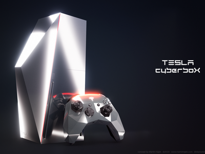 Tesla CyberboX gaming console concept hajek microsoft sony ps5 ps4 x-box playstation xbox console gaming cyberbox cybertruck cyber tesla