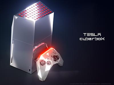 Tesla CyberboX gaming console concept ps5 ps4 sony x-box xbox microsoft playstation elon musk hajek design concept console gaming cyberbox cybertruck cyber tesla