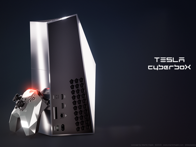 Tesla CyberboX gaming console concept sony ps5 ps4 x-box xbox microsoft playstation elon musk hajek design concept console gaming cyberbox cybertruck cyber tesla
