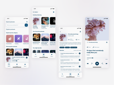 Mobile podcast player - concept app design figmadesign ui uxui layout lightmode cleanui player podcast app mobile app figma mobile design mobile