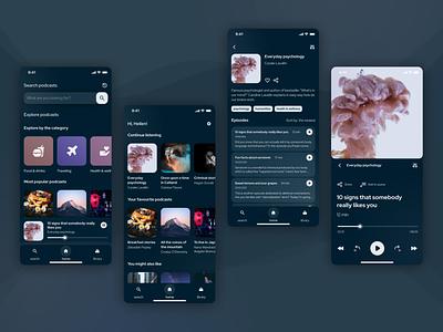 Mobile podcast player - concept (dark mode) mobile mobile design figma mobile app app podcast player clean ui dark mode layout uxui figma design app design