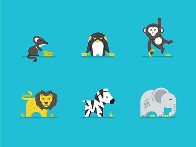 Animal illustrations for the kids illustration badges icons animals lion mouse penguin elephant zebra monkey